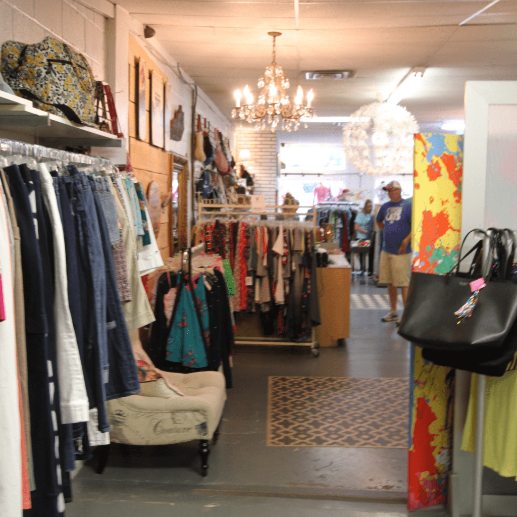 Clothing racks inside the Letcher County Kentucky based business. The consignment store is solar powered and energy efficient