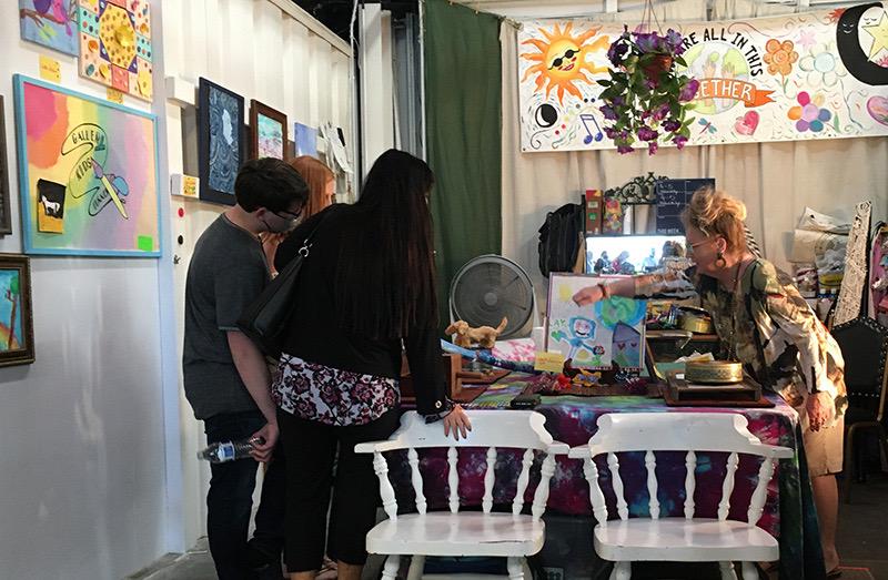 1art teacher Valerie showing childrens art
