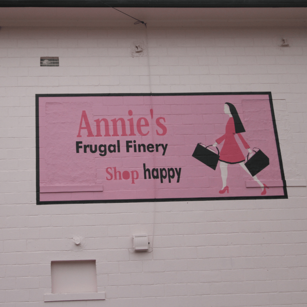 The pink wall outside Annie's Frugal Finery. The Letcher County, Kentucky, store is solar powered and energy efficiency.
