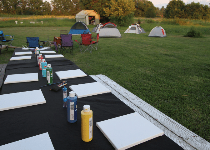 Tents and a table at Balloew teen retreat. The farm hosts events for Black Soil and other Eastern Kentucky groups on African American farmers