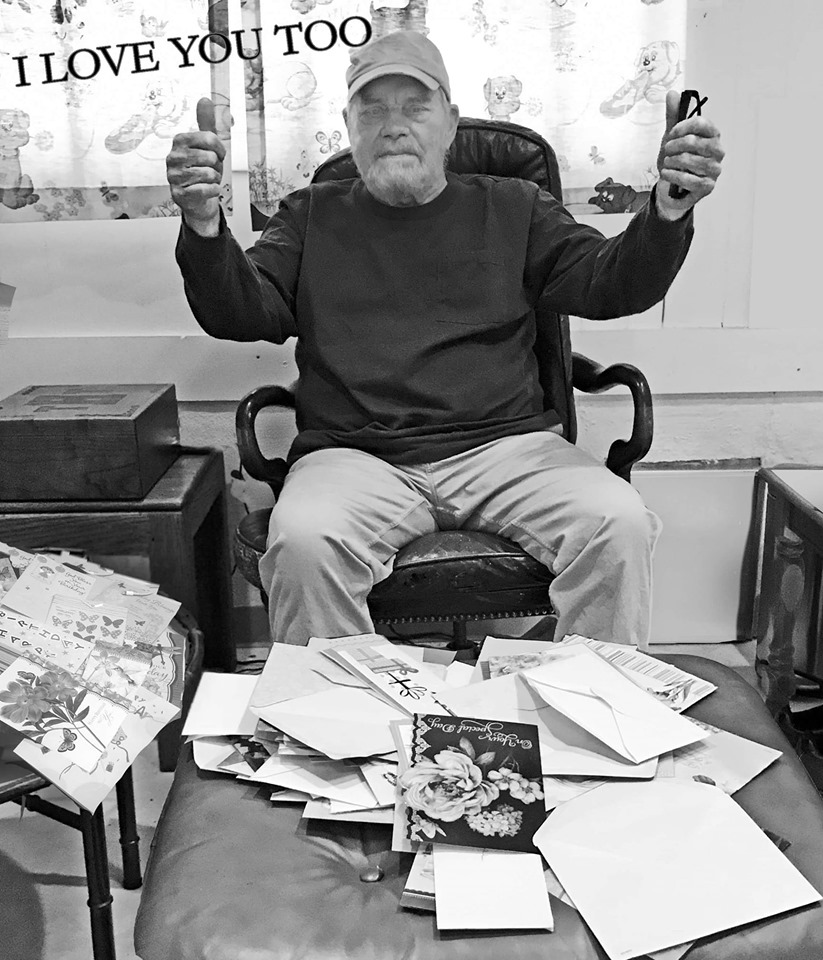 Tom T. Hall gives a thumbs up after he receives birthday cards from carter county kentucky. He was raised in olive hill kentucky