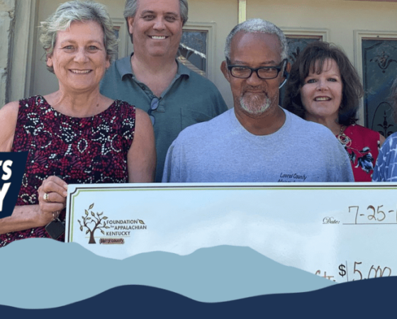 Laurel County African American Heritage Center receives check from the Foundation for Appalachian Kentucky for their work on food security.