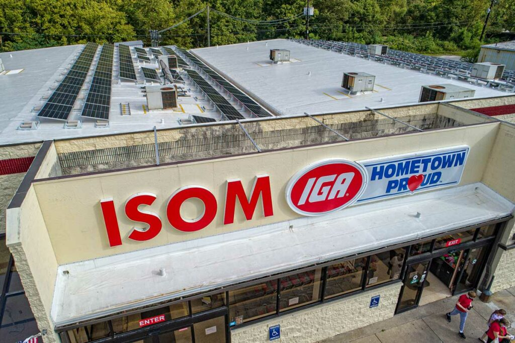 The roof of Isom IGA in letcher county with solar panels