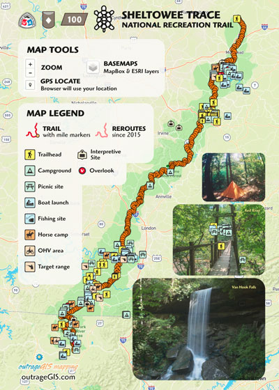 Sheltowee Trace national recreation trail map