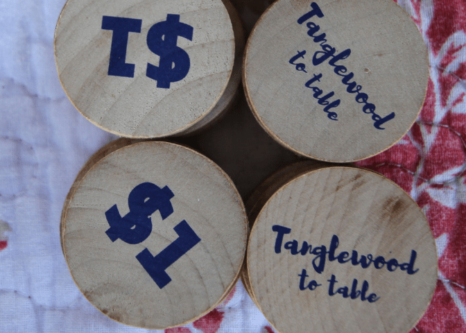 Tokens for the Tanglewood to table program at Letcher County Farmers Market in Whitesburg Kentucky.