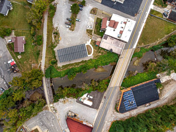Solar panels on the roof of Appalshop in Whitesburg, Kentucky. The panels help the media organization save money
