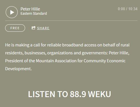 Screenshot of Peter Hille's interview on digital divides and broadband access in Eastern Kentucky.