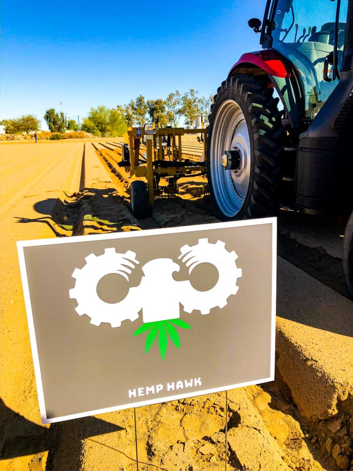 A hemp hawk sign in a field. The machines are sold across the country, but the company is headquartered in Winchester, Clark County