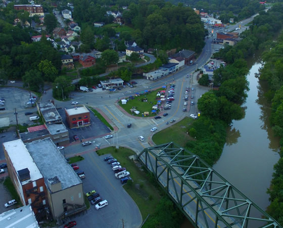 An aerial view of downtown Hazard, Kentucky with Gorman bridge. Hazard is known as the queen city of the mountains.