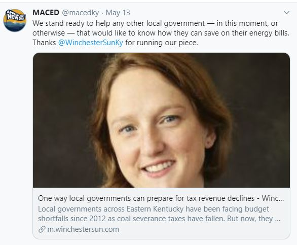 Screenshot of Carrie Ray in The Winchester Sun talking about how local governments can find energy savings.