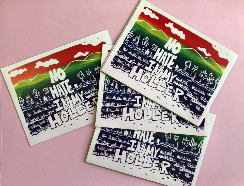 Lacy Hale's No Hate in My Holler postcards. Lacy is an Appalachian artist based in Whitesburg, Kentucky. MACED provides artists business loans