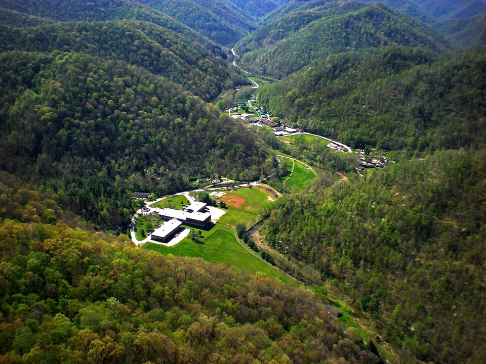 An aerial view of the buildings on the Red Bird Mission campus located  in Clay, Bell and Leslie counties in Eastern Kentucky.
