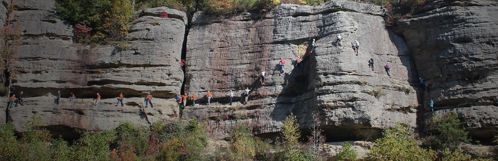 A group of climbers on the via Ferrata with Southeast Mountain Guides, a company based in the Red River Gorge, in Eastern Kentucky.